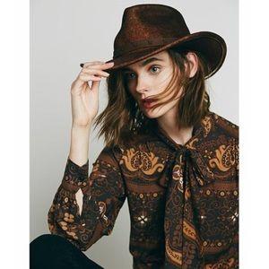Free People Brown Distressed Western Hat